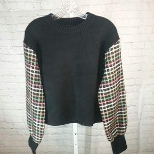 English Factory Plaid Sleeved Black Sweater Sz. M